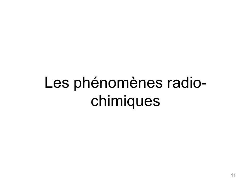 11 Les phénomènes radio- chimiques