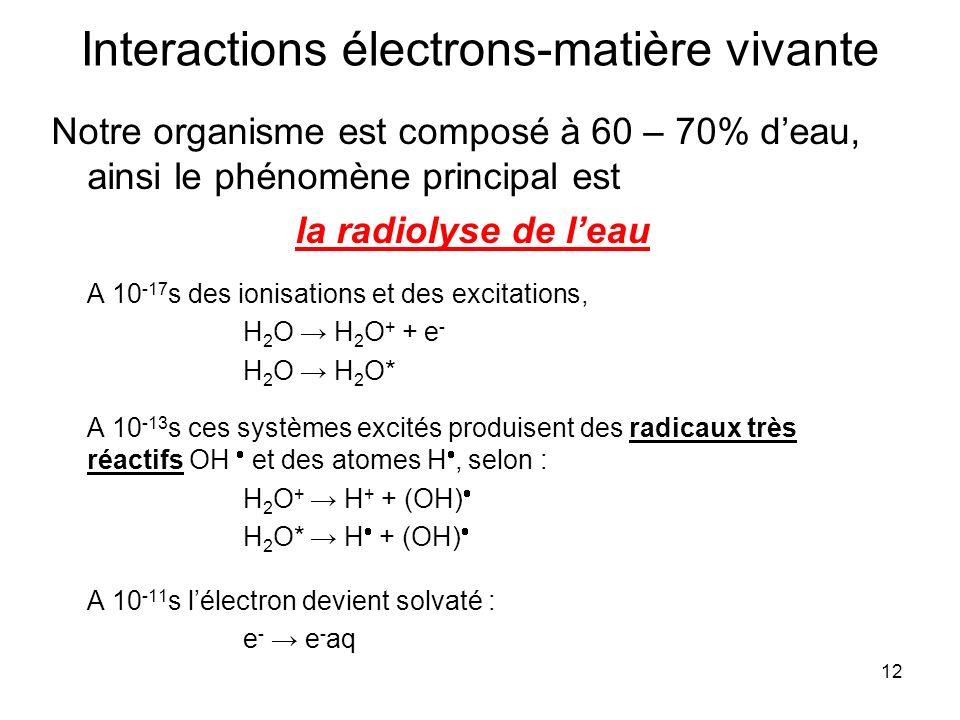 12 Interactions électrons-matière vivante Notre organisme est composé à 60 – 70% deau, ainsi le phénomène principal est la radiolyse de leau A 10 -17 s des ionisations et des excitations, H 2 O H 2 O + + e - H 2 O H 2 O* A 10 -13 s ces systèmes excités produisent des radicaux très réactifs OH et des atomes H, selon : H 2 O + H + + (OH) H 2 O* H + (OH) A 10 -11 s lélectron devient solvaté : e - e - aq