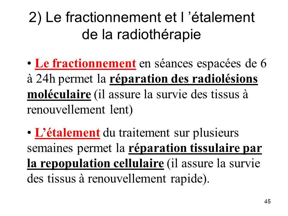 45 2) Le fractionnement et l étalement de la radiothérapie Le fractionnement en séances espacées de 6 à 24h permet la réparation des radiolésions moléculaire (il assure la survie des tissus à renouvellement lent) Létalement du traitement sur plusieurs semaines permet la réparation tissulaire par la repopulation cellulaire (il assure la survie des tissus à renouvellement rapide).