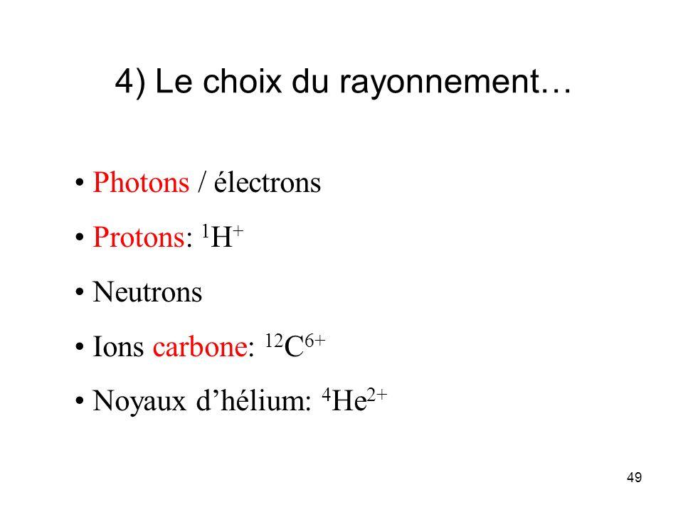49 4) Le choix du rayonnement… Photons / électrons Protons: 1 H + Neutrons Ions carbone: 12 C 6+ Noyaux dhélium: 4 He 2+