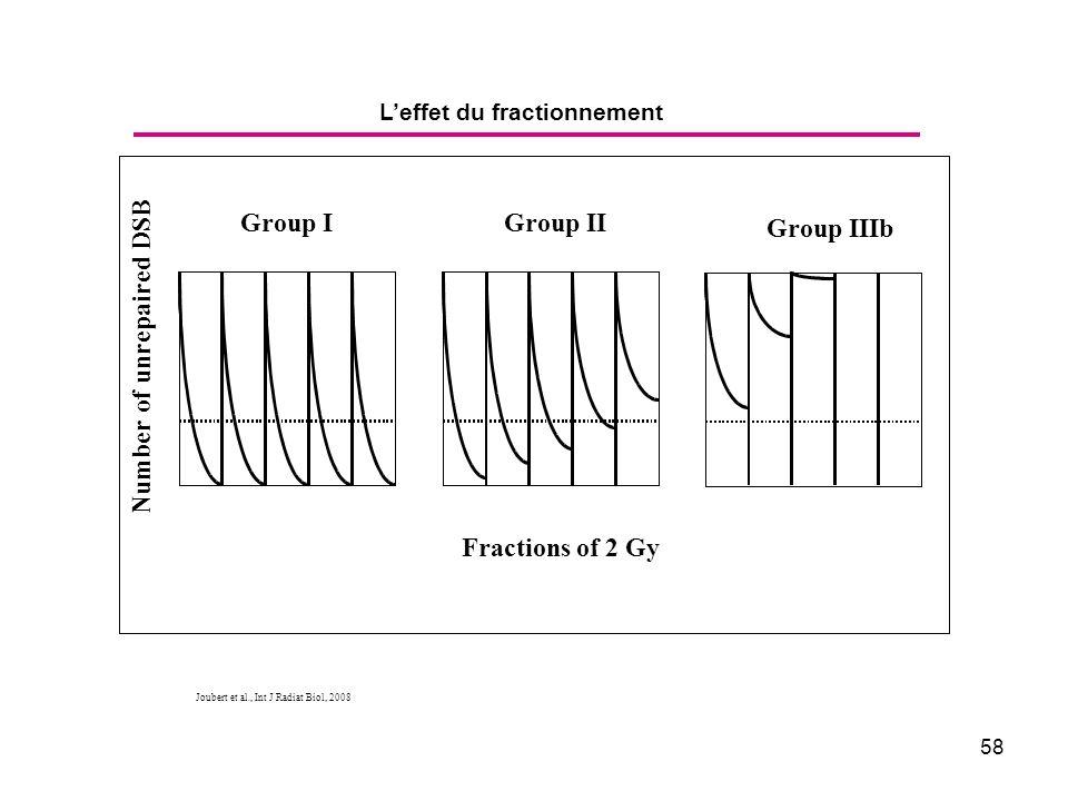 58 Leffet du fractionnement Joubert et al., Int J Radiat Biol, 2008