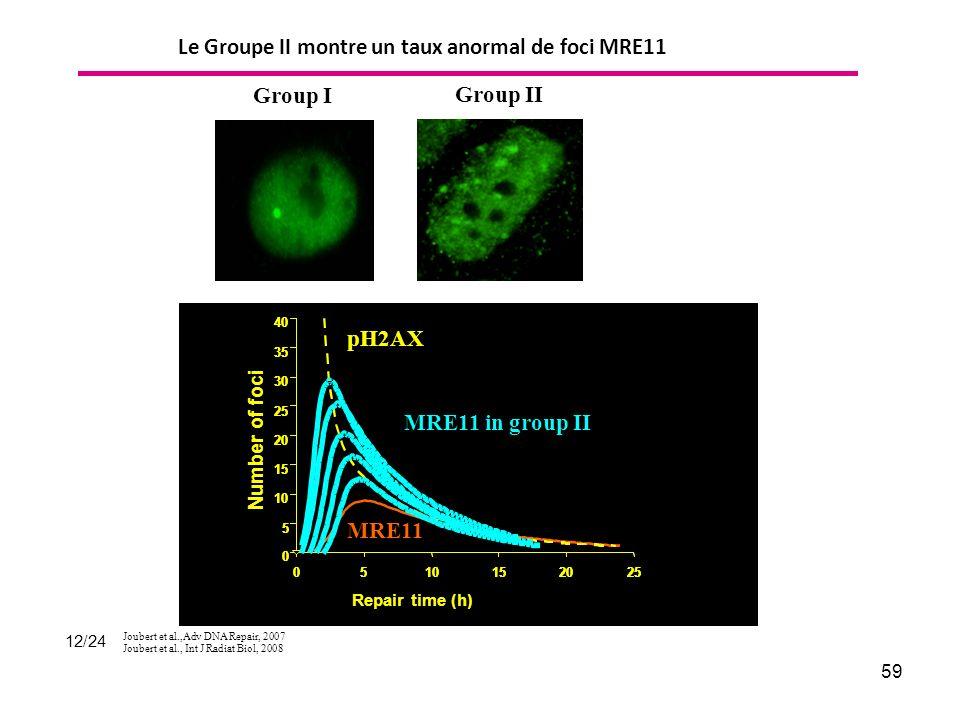 59 Group I Group II Le Groupe II montre un taux anormal de foci MRE11 12/24 Joubert et al.,Adv DNA Repair, 2007 Joubert et al., Int J Radiat Biol, 2008
