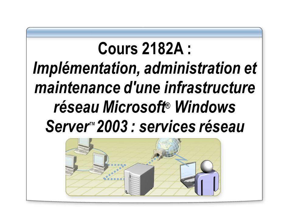 Cours 2182A : Implémentation, administration et maintenance d'une infrastructure réseau Microsoft ® Windows Server 2003 : services réseau