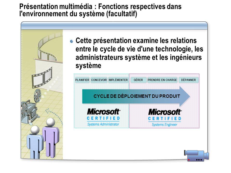 Présentation multimédia : Fonctions respectives dans l'environnement du système (facultatif) Cette présentation examine les relations entre le cycle d