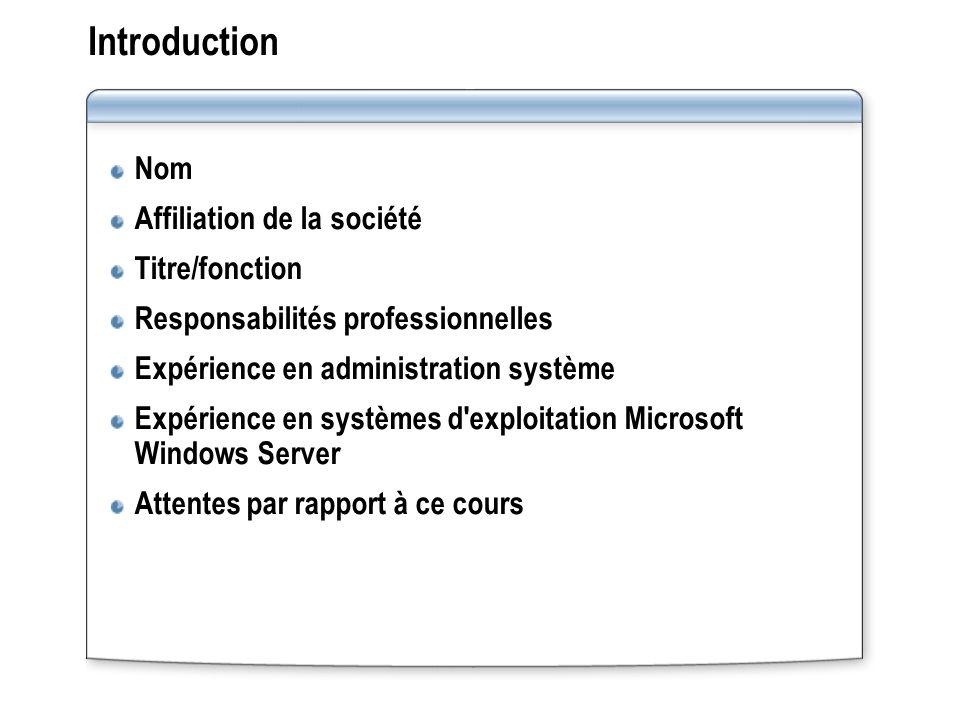 Introduction Nom Affiliation de la société Titre/fonction Responsabilités professionnelles Expérience en administration système Expérience en systèmes