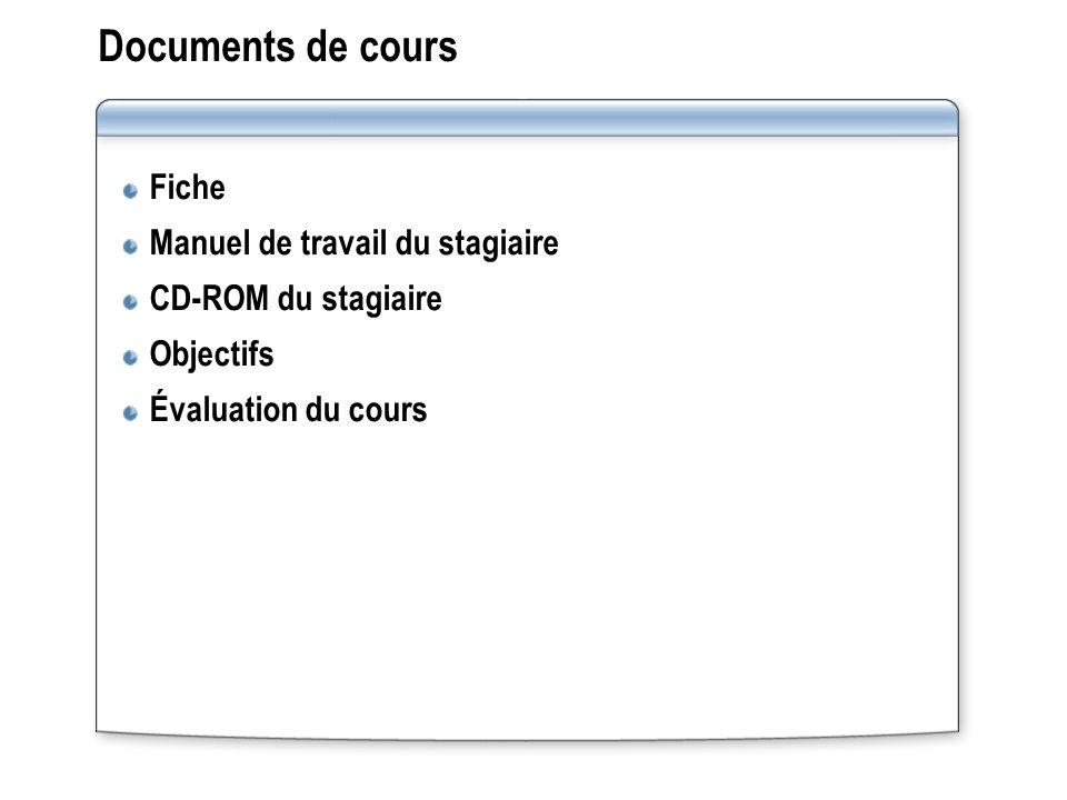 Documents de cours Fiche Manuel de travail du stagiaire CD-ROM du stagiaire Objectifs Évaluation du cours