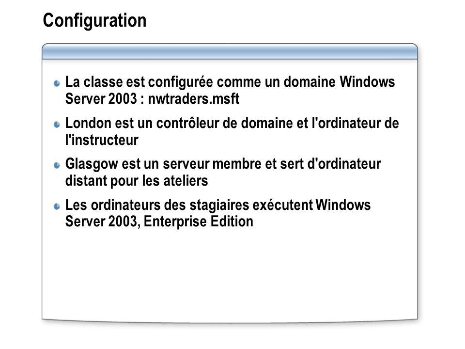 Configuration La classe est configurée comme un domaine Windows Server 2003 : nwtraders.msft London est un contrôleur de domaine et l'ordinateur de l'