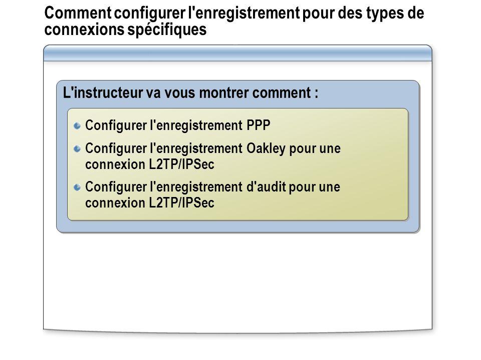 Comment configurer l'enregistrement pour des types de connexions spécifiques L'instructeur va vous montrer comment : Configurer l'enregistrement PPP C