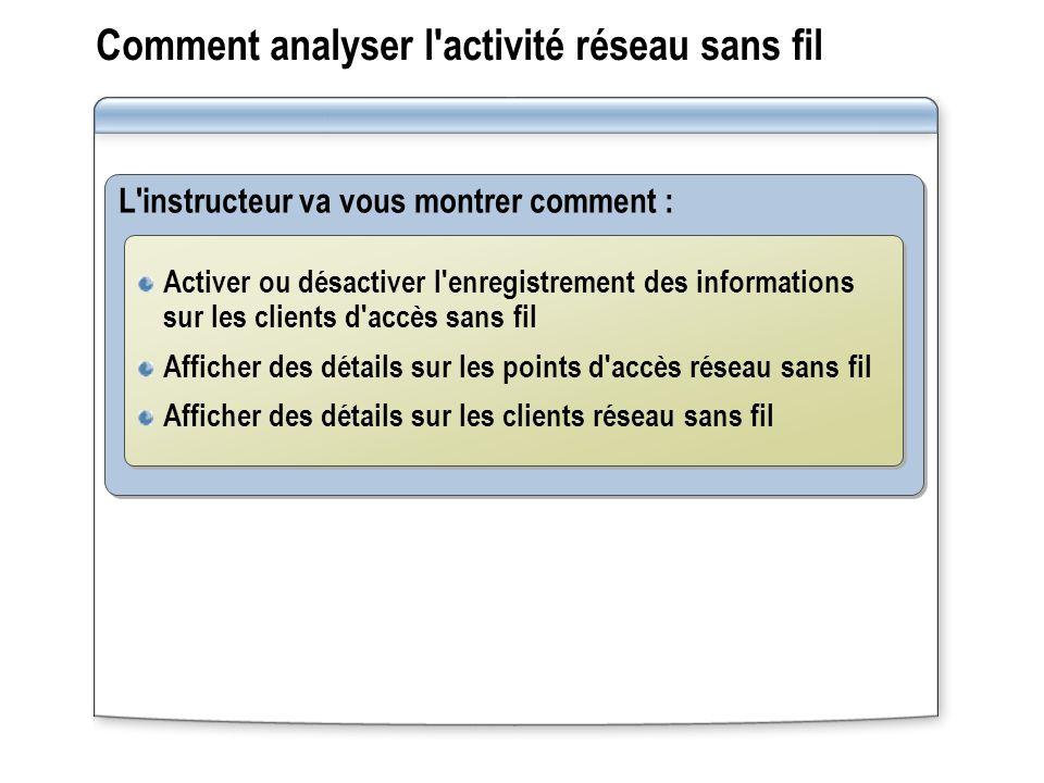 Comment analyser l'activité réseau sans fil L'instructeur va vous montrer comment : Activer ou désactiver l'enregistrement des informations sur les cl