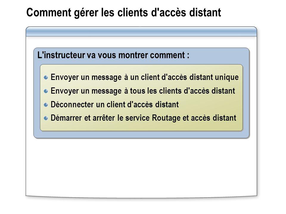 Comment gérer les clients d'accès distant L'instructeur va vous montrer comment : Envoyer un message à un client d'accès distant unique Envoyer un mes