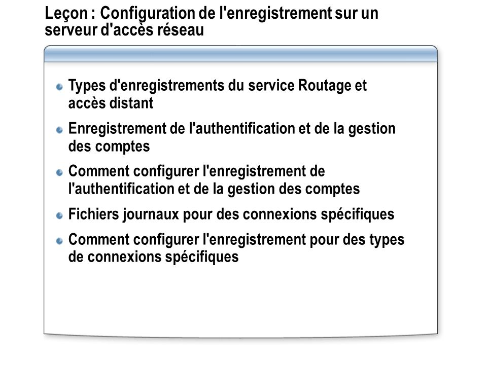 Leçon : Configuration de l'enregistrement sur un serveur d'accès réseau Types d'enregistrements du service Routage et accès distant Enregistrement de