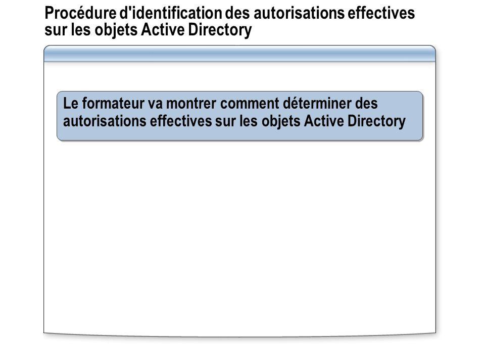 Procédure d'identification des autorisations effectives sur les objets Active Directory Le formateur va montrer comment déterminer des autorisations e