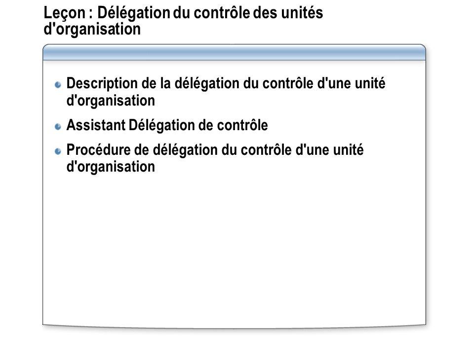 Leçon : Délégation du contrôle des unités d'organisation Description de la délégation du contrôle d'une unité d'organisation Assistant Délégation de c