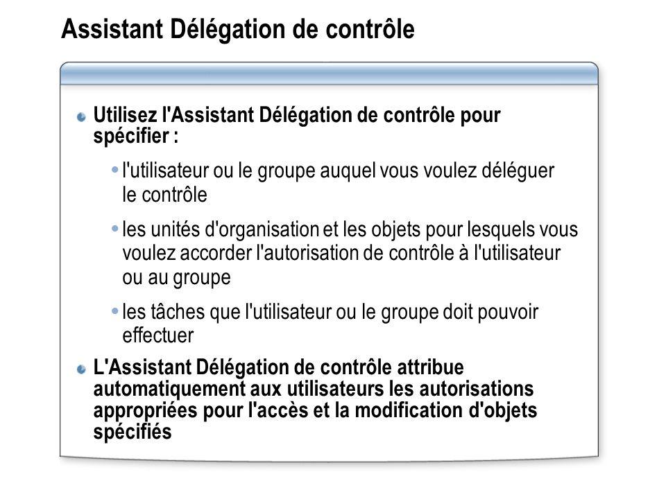 Assistant Délégation de contrôle Utilisez l'Assistant Délégation de contrôle pour spécifier : l'utilisateur ou le groupe auquel vous voulez déléguer l