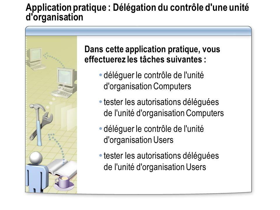 Application pratique : Délégation du contrôle d'une unité d'organisation Dans cette application pratique, vous effectuerez les tâches suivantes : délé