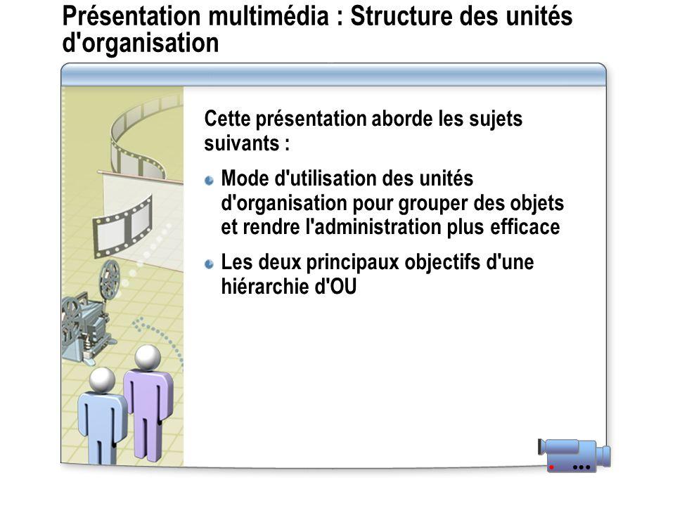 Présentation multimédia : Structure des unités d'organisation Cette présentation aborde les sujets suivants : Mode d'utilisation des unités d'organisa