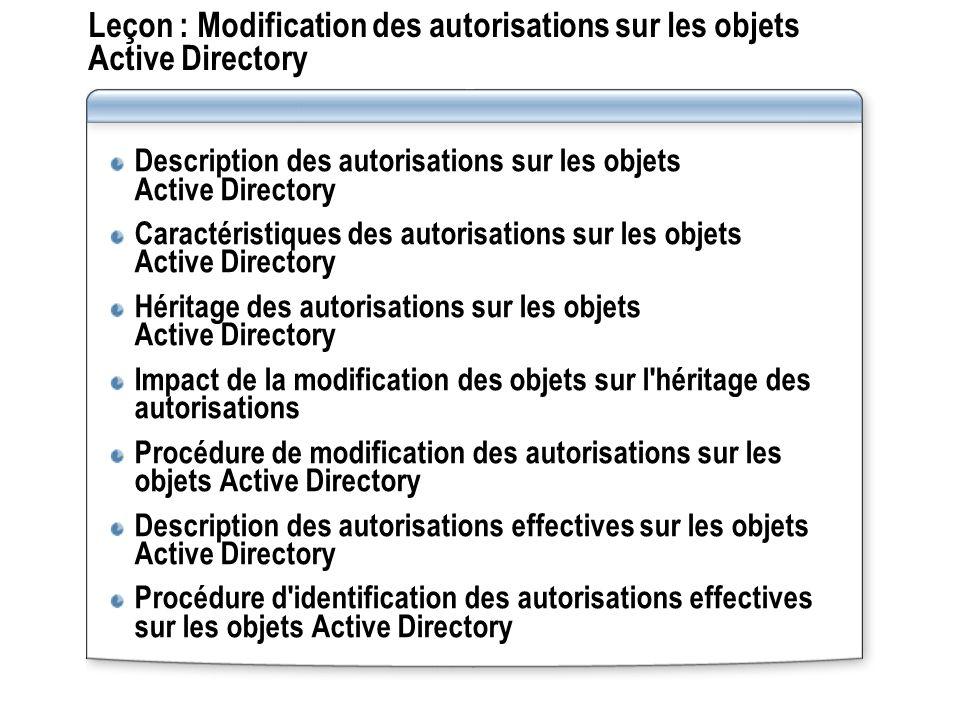 Leçon : Modification des autorisations sur les objets Active Directory Description des autorisations sur les objets Active Directory Caractéristiques