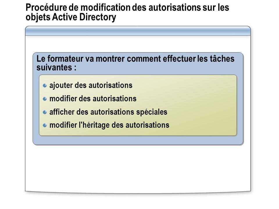 Procédure de modification des autorisations sur les objets Active Directory Le formateur va montrer comment effectuer les tâches suivantes : ajouter d