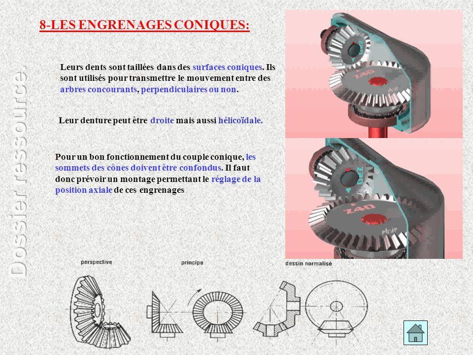 8-LES ENGRENAGES CONIQUES: Leurs dents sont taillées dans des surfaces coniques. Ils sont utilisés pour transmettre le mouvement entre des arbres conc