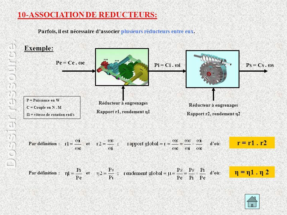 Parfois, il est nécessaire dassocier plusieurs réducteurs entre eux. Exemple: 10-ASSOCIATION DE REDUCTEURS: Pe = Ce. ωe Pi = Ci. ωiPs = Cs. ωs P = Pui