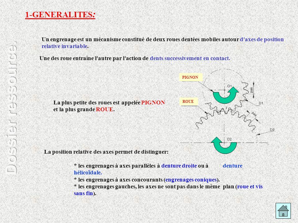 1-GENERALITES : Un engrenage est un mécanisme constitué de deux roues dentées mobiles autour d'axes de position relative invariable. Une des roue entr