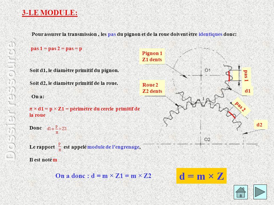 Pour assurer la transmission, les pas du pignon et de la roue doivent être identiques donc: On a donc : d = m × Z1 = m × Z2 pas 2 pas 1 Pignon 1 Z1 de
