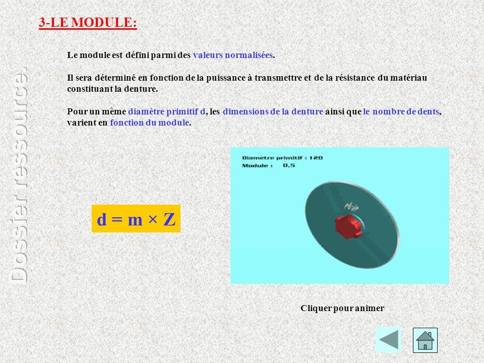 Le module est défini parmi des valeurs normalisées. Il sera déterminé en fonction de la puissance à transmettre et de la résistance du matériau consti