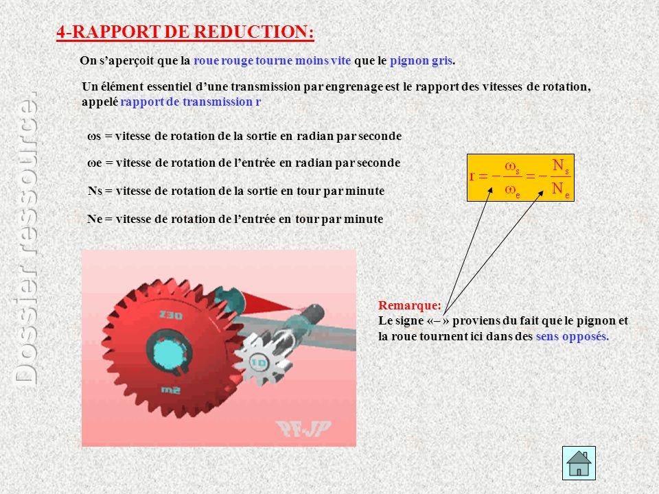 4-RAPPORT DE REDUCTION: Remarque: Le signe «– » proviens du fait que le pignon et la roue tournent ici dans des sens opposés. Un élément essentiel dun