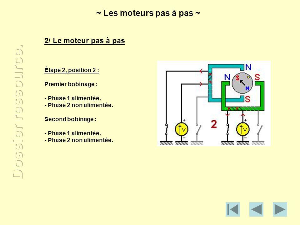 2/ Le moteur pas à pas Étape 2, position 2 : Premier bobinage : - Phase 1 alimentée. - Phase 2 non alimentée. Second bobinage : - Phase 1 alimentée. -