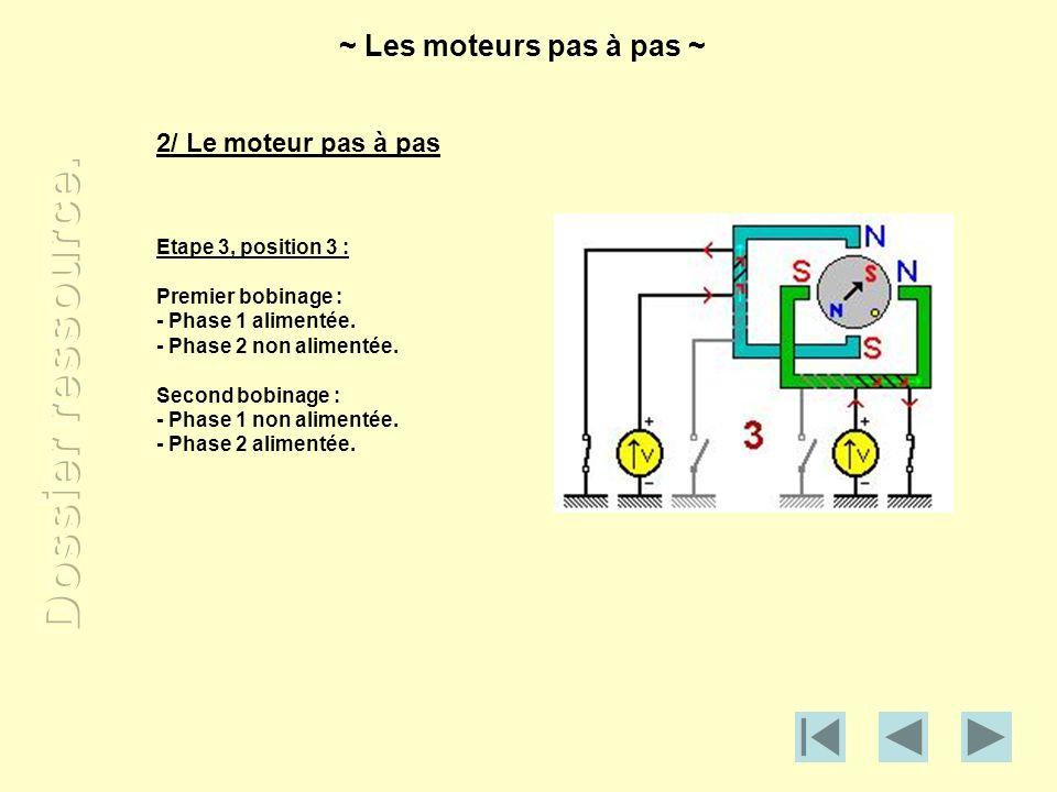 2/ Le moteur pas à pas Etape 3, position 3 : Premier bobinage : - Phase 1 alimentée. - Phase 2 non alimentée. Second bobinage : - Phase 1 non alimenté