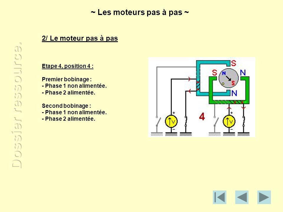 2/ Le moteur pas à pas Etape 4, position 4 : Premier bobinage : - Phase 1 non alimentée. - Phase 2 alimentée. Second bobinage : - Phase 1 non alimenté