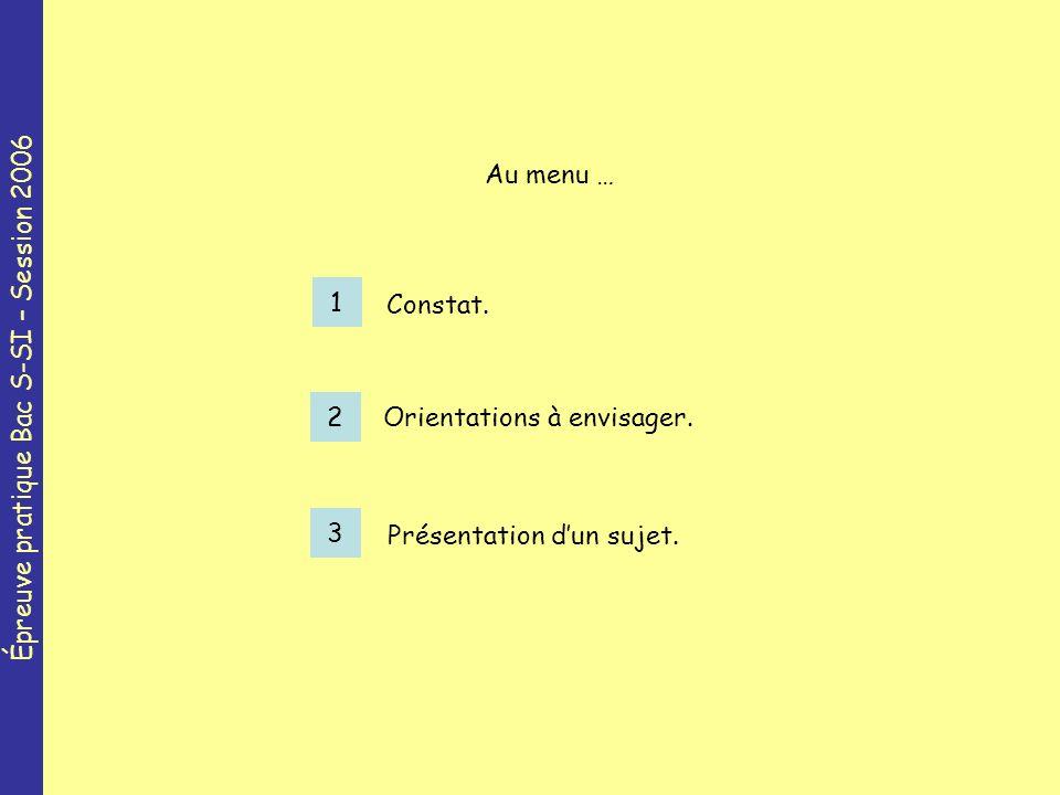 Épreuve pratique Bac S-SI – Session 2006 1 Constat.