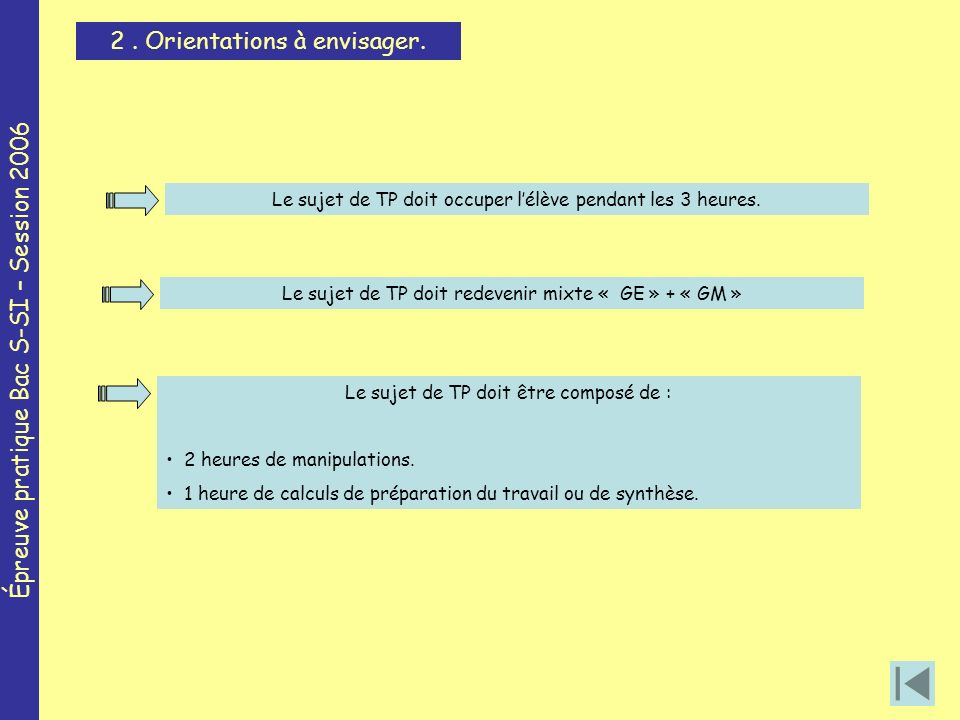 Épreuve pratique Bac S-SI – Session 2006 2. Orientations à envisager.