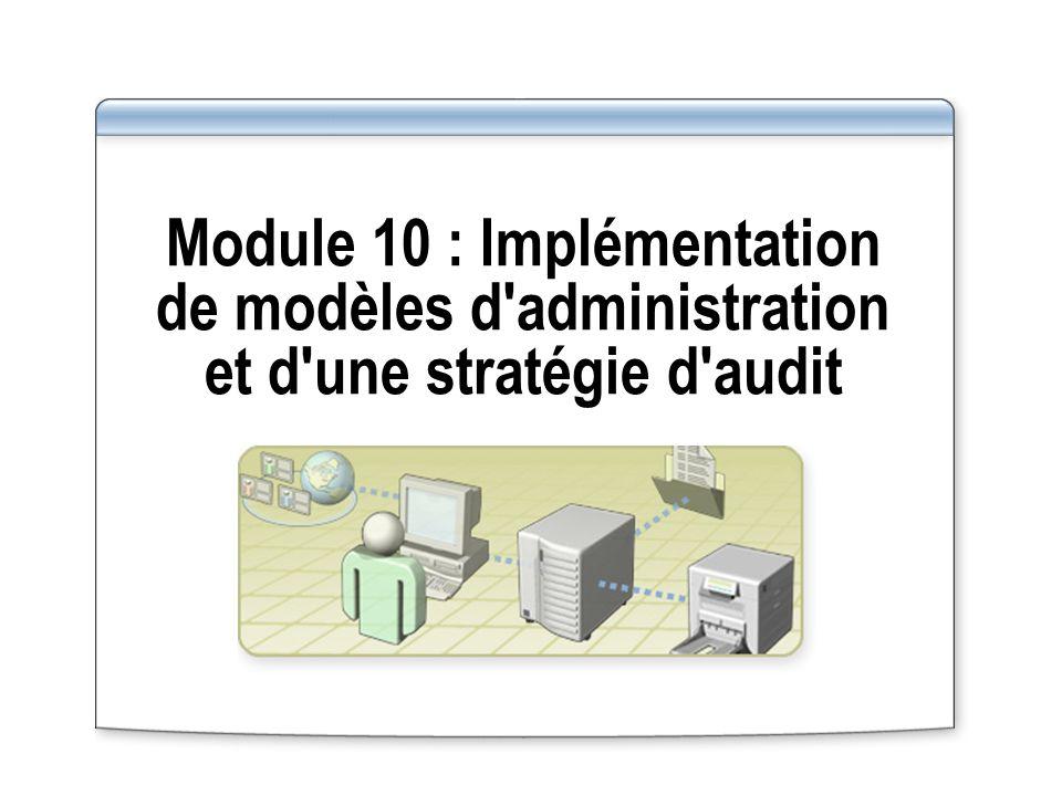 Module 10 : Implémentation de modèles d'administration et d'une stratégie d'audit