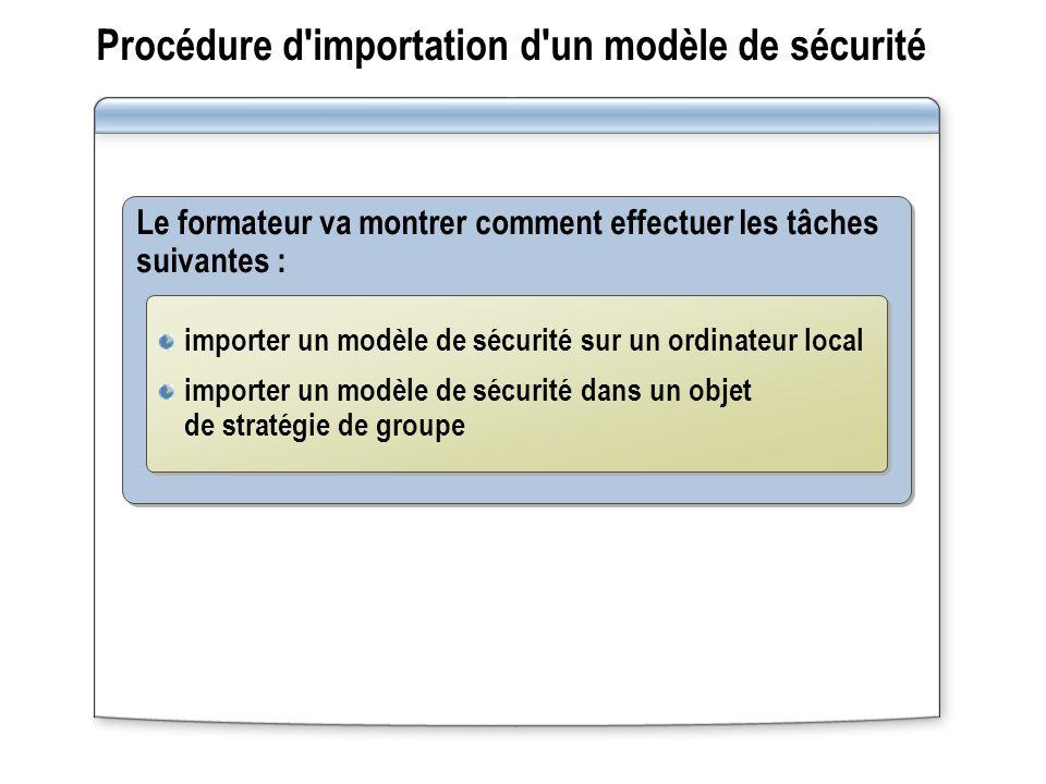 Procédure d'importation d'un modèle de sécurité Le formateur va montrer comment effectuer les tâches suivantes : importer un modèle de sécurité sur un
