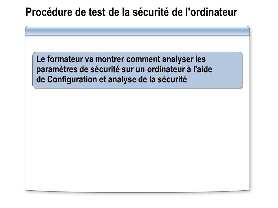 Procédure de test de la sécurité de l'ordinateur Le formateur va montrer comment analyser les paramètres de sécurité sur un ordinateur à l'aide de Con