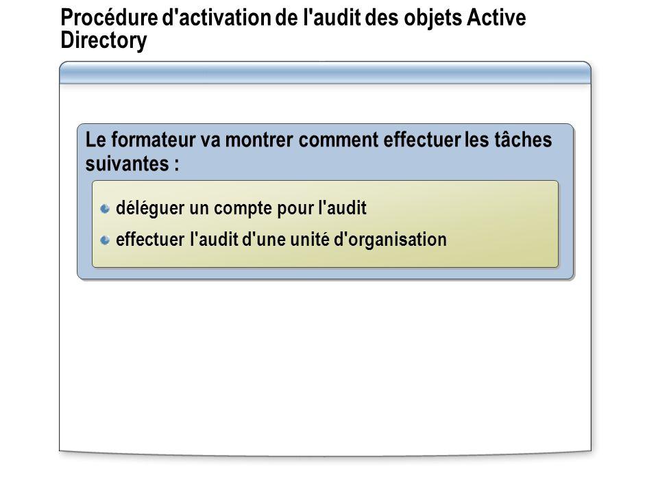Procédure d'activation de l'audit des objets Active Directory Le formateur va montrer comment effectuer les tâches suivantes : déléguer un compte pour
