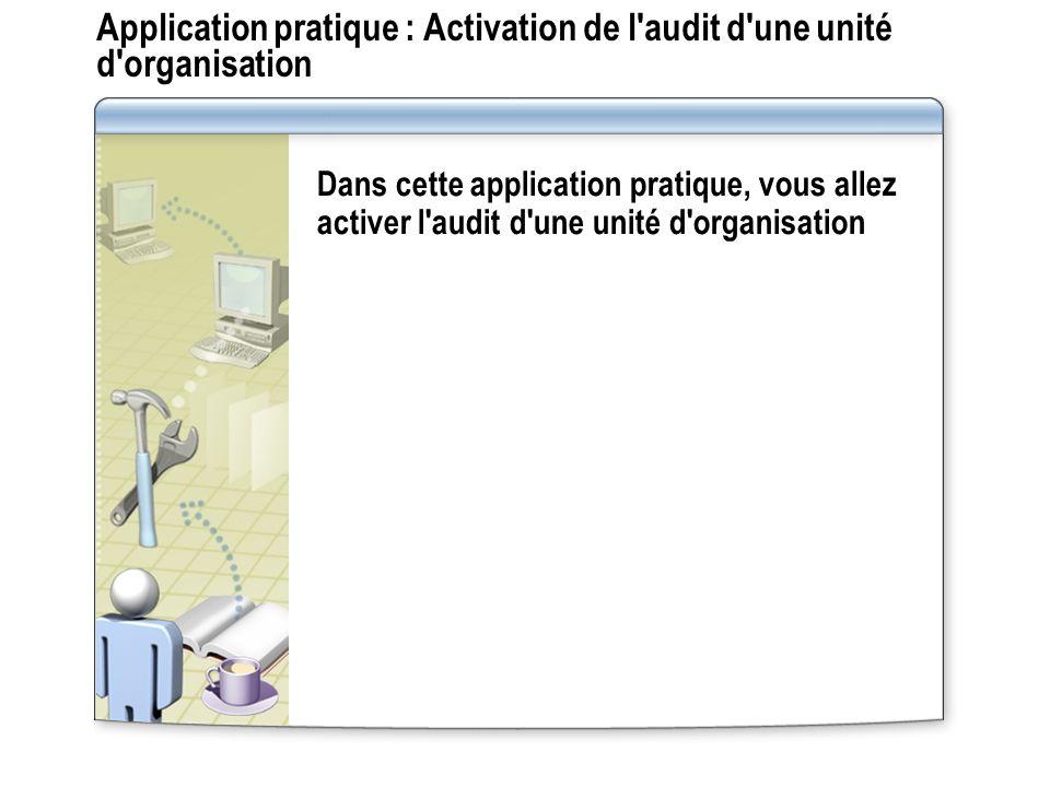 Application pratique : Activation de l'audit d'une unité d'organisation Dans cette application pratique, vous allez activer l'audit d'une unité d'orga