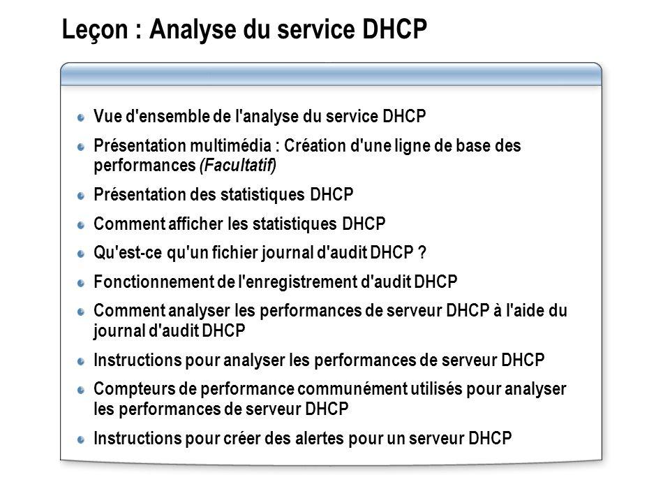 Leçon : Analyse du service DHCP Vue d'ensemble de l'analyse du service DHCP Présentation multimédia : Création d'une ligne de base des performances (F