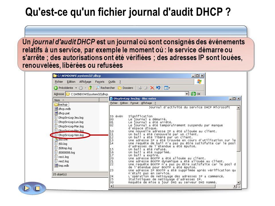 Qu'est-ce qu'un fichier journal d'audit DHCP ? Un journal d'audit DHCP est un journal où sont consignés des événements relatifs à un service, par exem