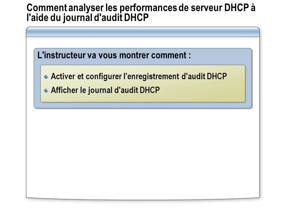 Comment analyser les performances de serveur DHCP à l'aide du journal d'audit DHCP L'instructeur va vous montrer comment : Activer et configurer l'enr