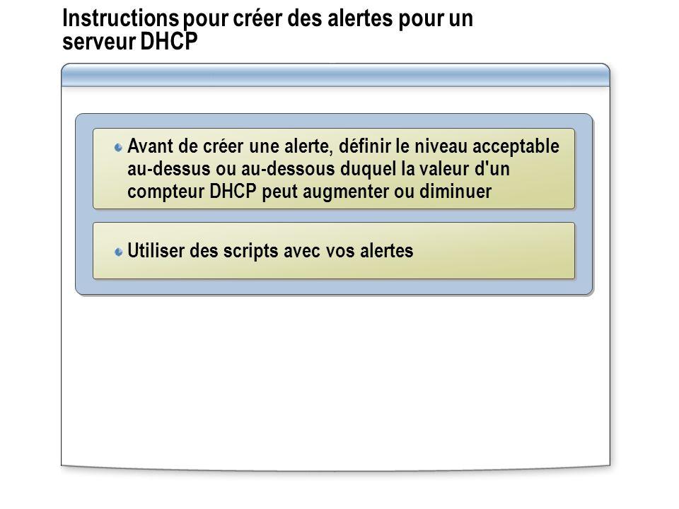 Instructions pour créer des alertes pour un serveur DHCP Avant de créer une alerte, définir le niveau acceptable au-dessus ou au-dessous duquel la val
