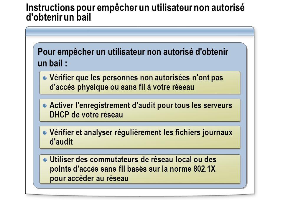 Instructions pour empêcher un utilisateur non autorisé d'obtenir un bail Pour empêcher un utilisateur non autorisé d'obtenir un bail : Vérifier que le