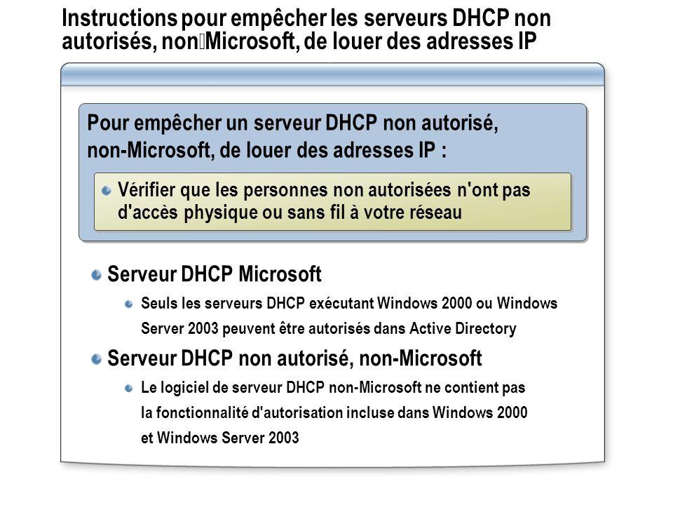 Instructions pour empêcher les serveurs DHCP non autorisés, nonMicrosoft, de louer des adresses IP Pour empêcher un serveur DHCP non autorisé, non-Mic