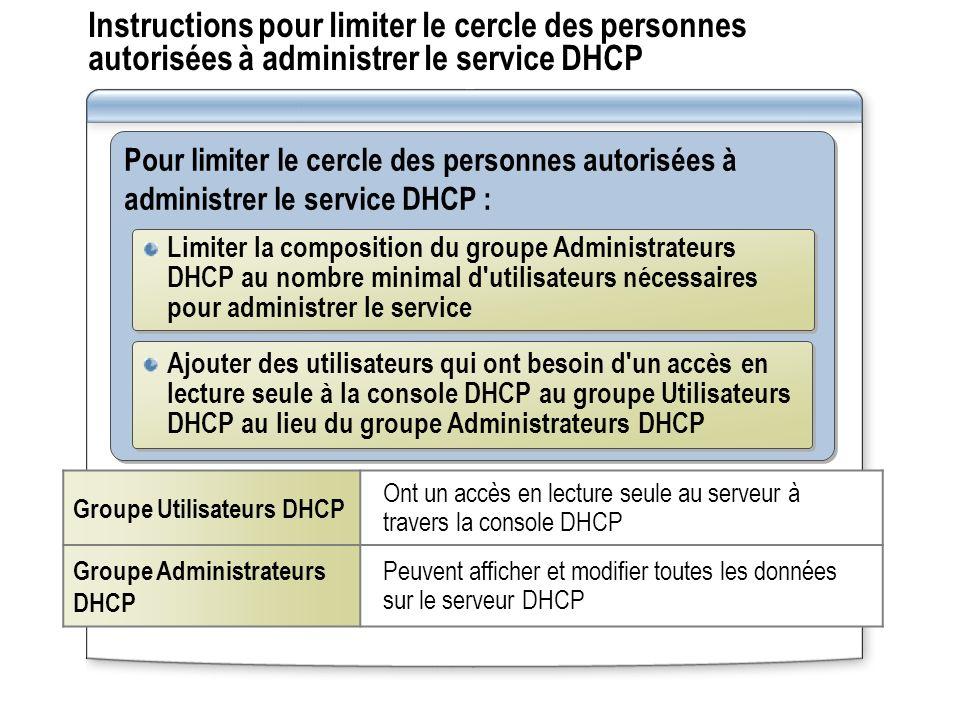 Instructions pour limiter le cercle des personnes autorisées à administrer le service DHCP Pour limiter le cercle des personnes autorisées à administr