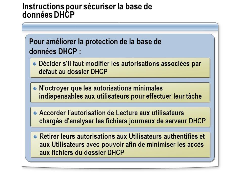 Instructions pour sécuriser la base de données DHCP Pour améliorer la protection de la base de données DHCP : Décider s'il faut modifier les autorisat