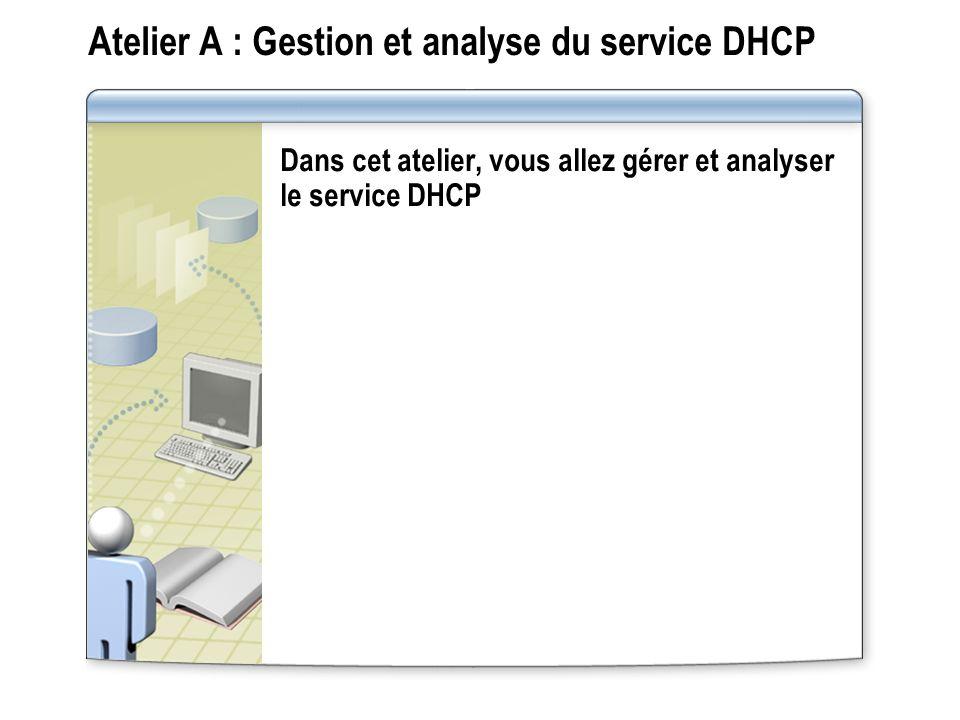 Atelier A : Gestion et analyse du service DHCP Dans cet atelier, vous allez gérer et analyser le service DHCP