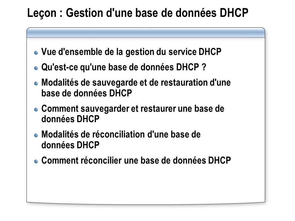 Leçon : Gestion d'une base de données DHCP Vue d'ensemble de la gestion du service DHCP Qu'est-ce qu'une base de données DHCP ? Modalités de sauvegard