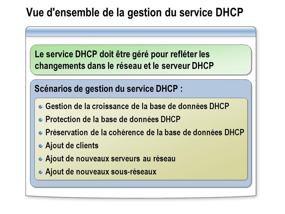 Vue d'ensemble de la gestion du service DHCP Le service DHCP doit être géré pour refléter les changements dans le réseau et le serveur DHCP Scénarios