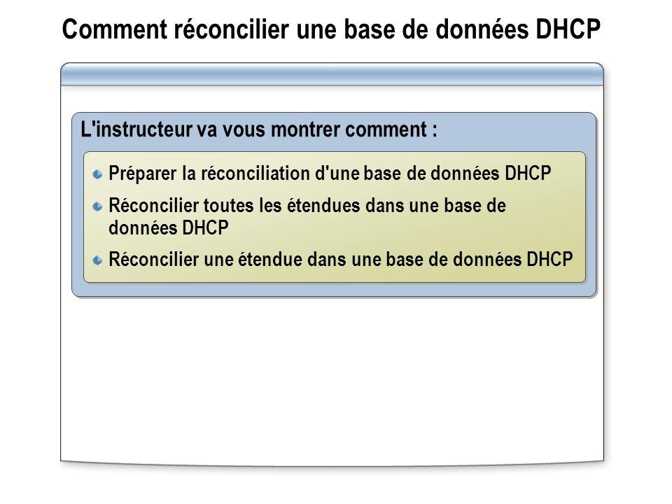 Comment réconcilier une base de données DHCP L'instructeur va vous montrer comment : Préparer la réconciliation d'une base de données DHCP Réconcilier